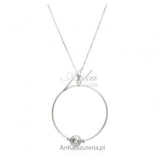 Długi naszyjnik srebrny rodowany duże koło - Włoski szyk