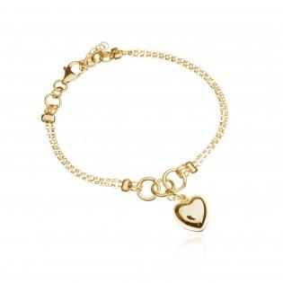 Bransoletka srebrna pozłacana z dużym sercem - biżuteria włoska