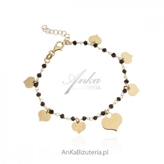 Bransoletka srebrna pozłacana z czarnymi onyksami - biżuteria włoska