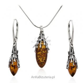 Komplet biżuteria srebrna z bursztynem - sopelki