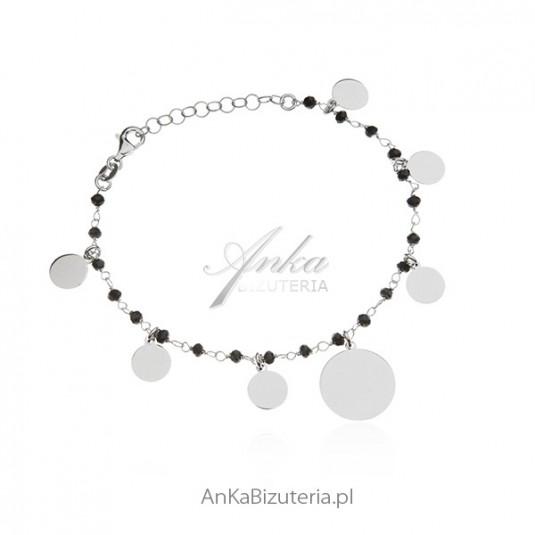 Bransoletka srebrna z czarnymi onyksami - biżuteria włoska