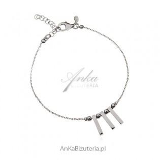 Bransoletka srebrna z pałeczkami - biżuteria włoska