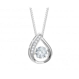 Subtelny naszyjnik srebrny z cyrkoniami - biżuteria włoska