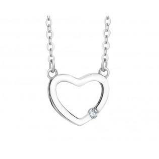 Naszyjnik srebrny serduszko z piękną cyrkonią