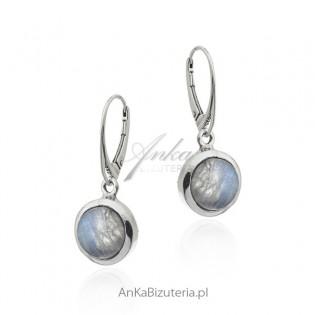Kolczyki srebrne z kamieniem księżycowym - kamień z Australii