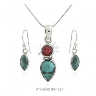 Komplet biżuterii z zielonym turkusem i koralem