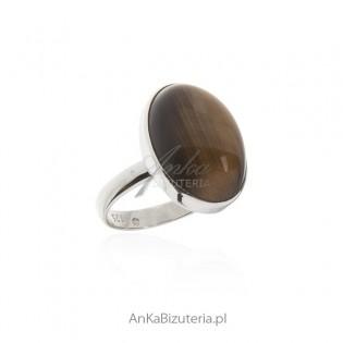 Duży pierścionek srebrny z tygrysim okiem