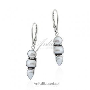 Kolczyki srebrne z białymi perełkami
