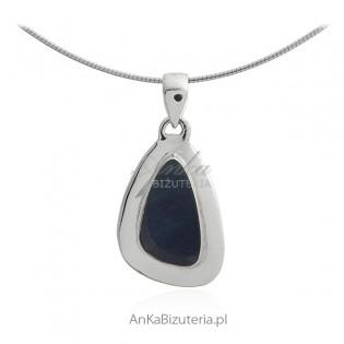 Biżuteria srebrna - Zawieszka z prawdziwym niebieskim opalem