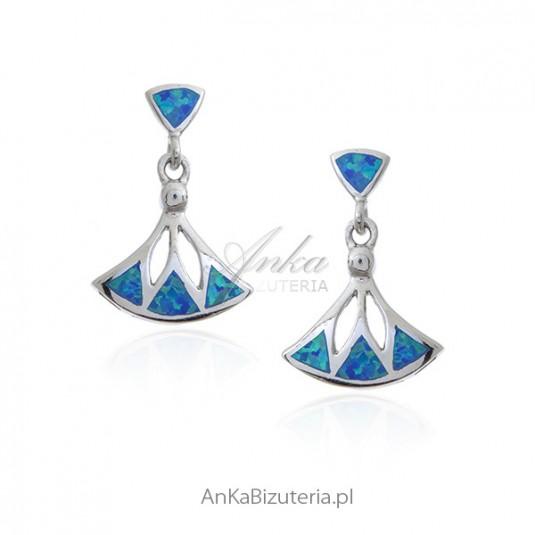 Kolczyki srebrne z niebieskim opalem - Biżuteria srebrna