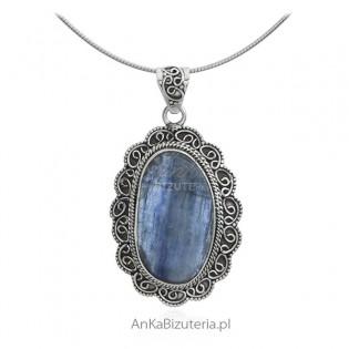 Zawieszka srebrna z kamieniem naturalnym kyanite