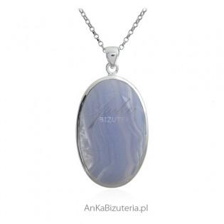 Zawieszka srebrna z pięknym kamieniem Blue Lace