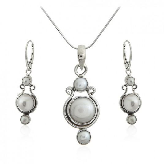 Komplet biżuterii srebrny z perłami - Biżuteria srebrna z perłami