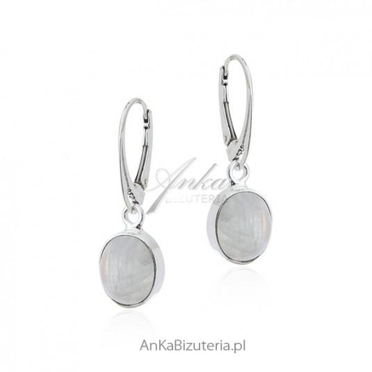 Kolczyki srebrne z kamieniem księżycowym - Blue Moon