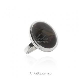 Pierścionek srebrny z pięknym kamieniem Pietersite
