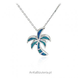 Zawieszka srebrna z niebieskim opalem - palma