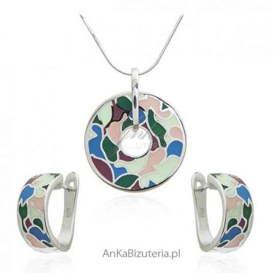 Biżuteria srebrna komplet - biżuteria włoska kolorowa emalia