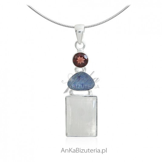 Zawieszka srebrna z kamieniem księżycowym naturalnym opalem i granatem