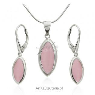 Komplet biżuteria srebrna z różowym uleksytem