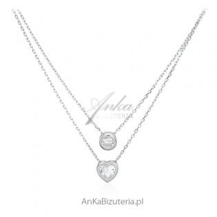 Naszyjnik srebrny z cyrkoniami - Piękny podwójny naszyjnik