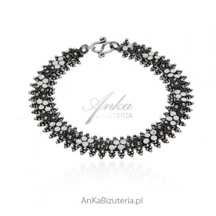 Bransoletka srebrna oksydowana - Piękna oryginalna biżuteria