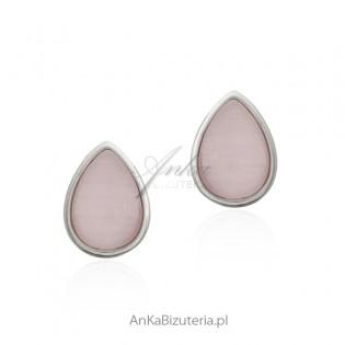 Kolczyki srebrne łezki z różowym kamieniem