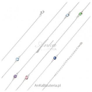 Naszyjnik srebrny z kolorowymi cyrkoniami Biżuteria srebrna damska