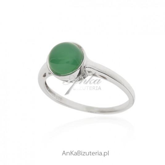 Chłodny Pierścionek srebrny z jadeitem - AnKaBizuteria.pl OK68