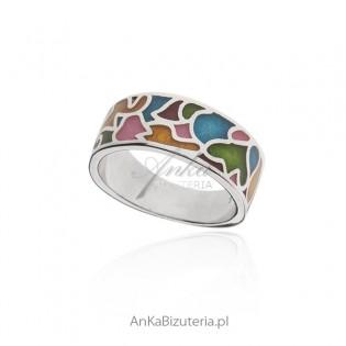 Pierścionek srebrny z piękną kolorową emalią - biżuteria srebrna włoska