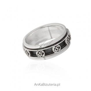 Pierścionek srebrny oksydowany Antysters