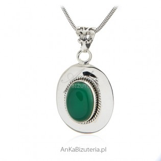 Zawieszka srebrna z zielonym jadeitem