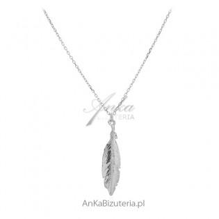 Naszyjnik srebrny piórko diamentowane - śliczna biżuteria włoska