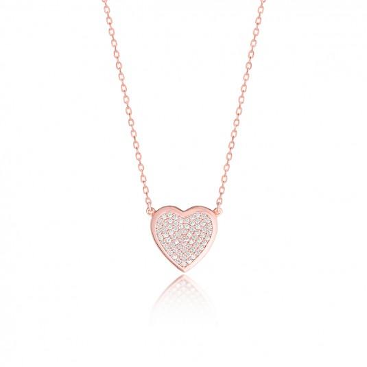Naszyjnik srebrny pozłacany różowym złotem - piękne serduszko z cyrkoniami