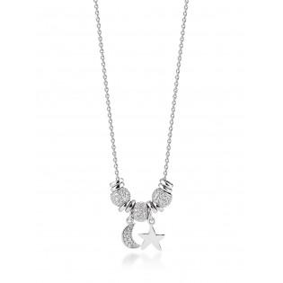 Piękny naszyjnik srebrny z białymi cyrkoniami i przywieszkami