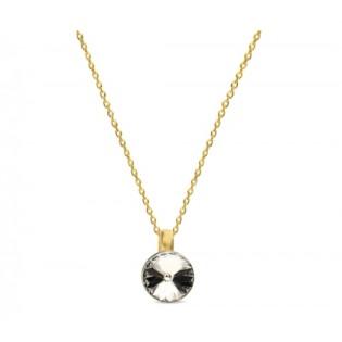 Naszyjnik srebrny pozłacany Swarovski - Klasyczna biżuteria damska