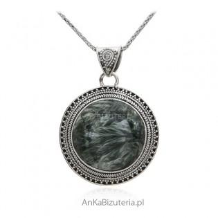 Zawieszka srebrna z Surphanite - Biżuteria oksydowana z kamieniem naturalnym