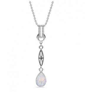 Naszyjnik srebrny Ice White opal - kryształy Swarovski