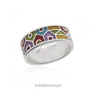 Pierścionek srebrny włoski z emalią - piękny geometryczny witraż
