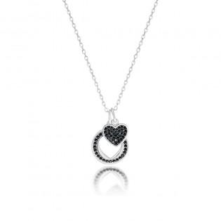 Naszyjnik srebrny z czarnymi cyrkoniami - Biżuteria Dall'Acqua - Romance