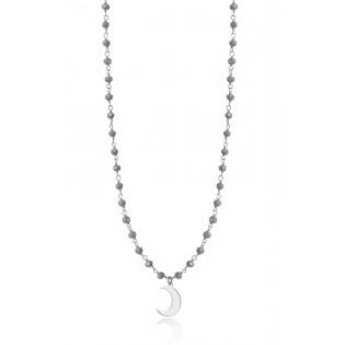 Naszyjnik srebrny z kryształkami w kolorze szarym z księżycem