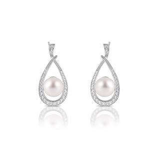 Eleganckie srebrne kolczyki z perełkami i cyrkoniami