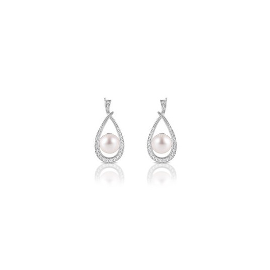 39e2fe0c78112 Eleganckie srebrne kolczyki z perełkami i cyrkoniami