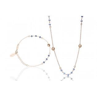 Komplet biżuteria srebrna z granatowymi kryształkami