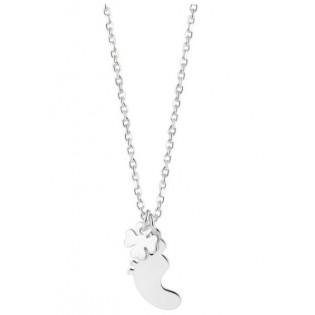 Naszyjnik srebrny dziecięce stópki z koniczynką - Pomysł na prezent na baby shower