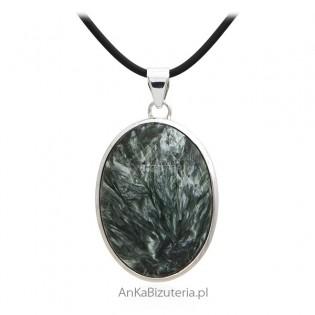 Duża zawieszka srebrna z zielonym Surphanite - Oryginalna biżuteria