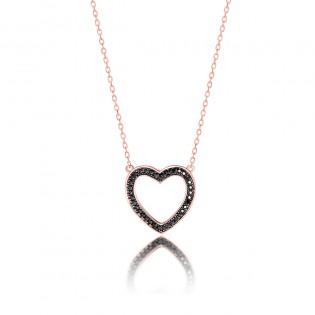 Naszyjnik srebrny serduszko pozłacane różowym złotem z czarnymi cyrkoniami