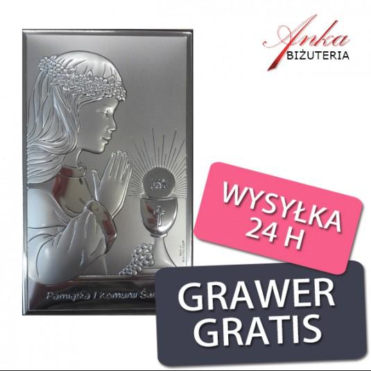 Dewocjonalia Pamiątka Pierwszej Komunii Św. dla Dziewczynki 9 cm*15 cm