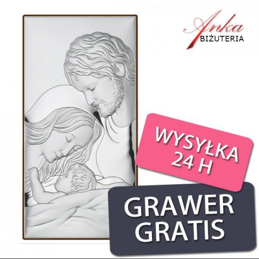 Święta Rodzina Obrazek srebrny Pamiątka na prezent 14 * 27 cm