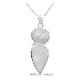 Zawieszka srebrna z kamieniem księżycowym Biżuteria na prezent z kamieniem szczęścia