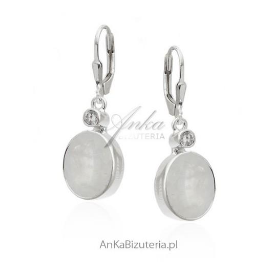 Piękne kolczyki srebrne z kamieniem księżycowym i cyrkonią - duże